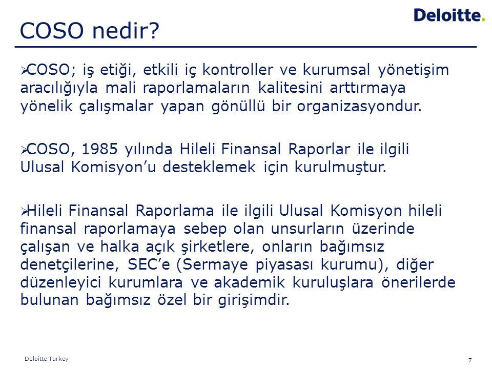 7 Deloitte Turkey  COSO; iş etiği, etkili iç kontroller ve kurumsal yönetişim aracılığıyla mali raporlamaların kalitesini arttırmaya yönelik çalışmal