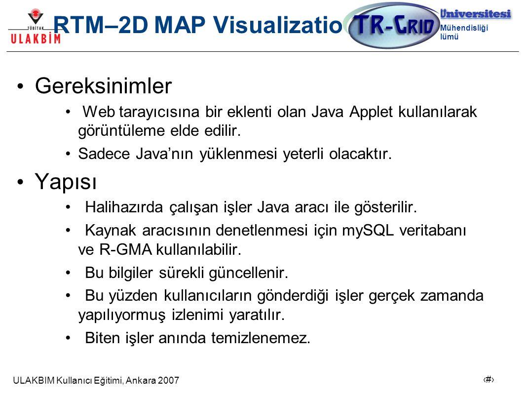 ULAKBIM Kullanıcı Eğitimi, Ankara 2007 14 Bilgisayar Mühendisliği Bölümü RTM–2D MAP Visualization Gereksinimler Web tarayıcısına bir eklenti olan Java Applet kullanılarak görüntüleme elde edilir.