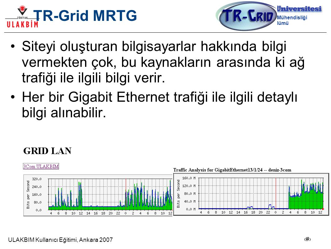 ULAKBIM Kullanıcı Eğitimi, Ankara 2007 20 Bilgisayar Mühendisliği Bölümü TR-Grid MRTG Siteyi oluşturan bilgisayarlar hakkında bilgi vermekten çok, bu kaynakların arasında ki ağ trafiği ile ilgili bilgi verir.