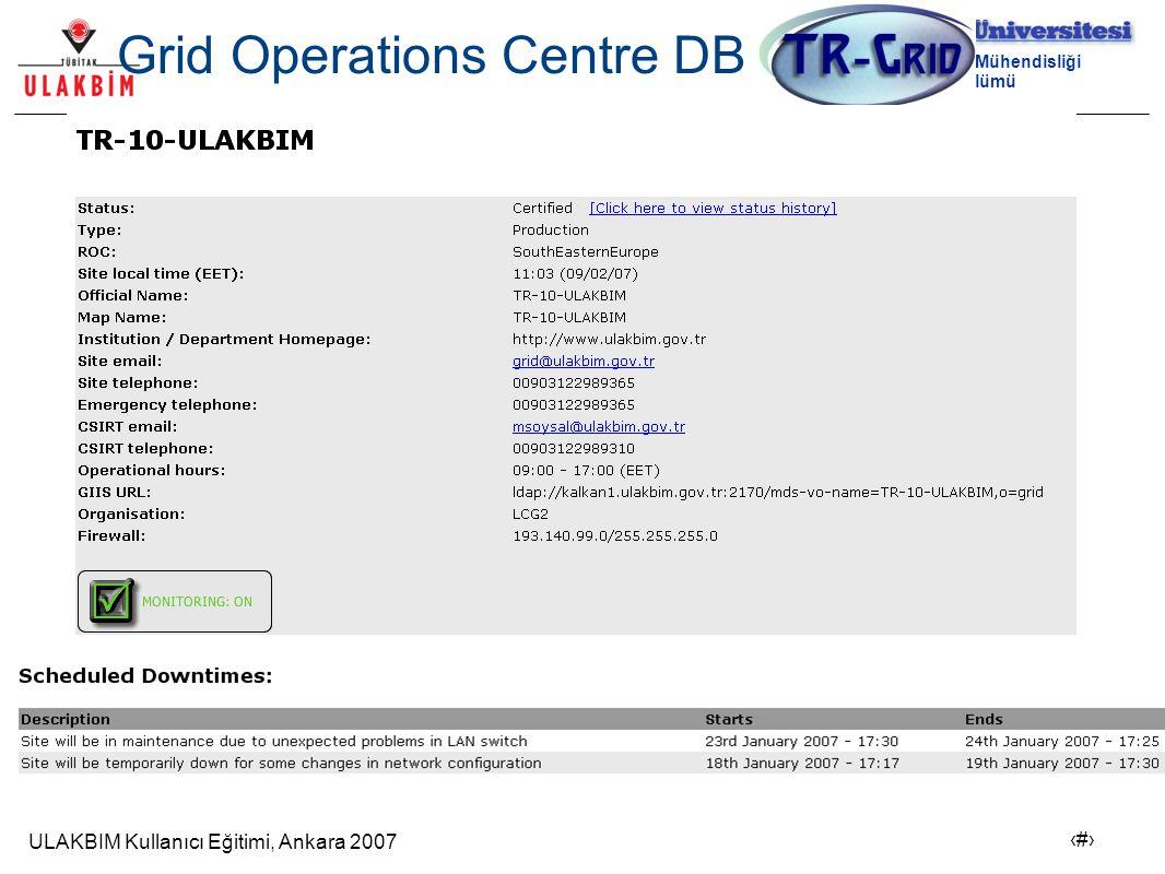 ULAKBIM Kullanıcı Eğitimi, Ankara 2007 6 Bilgisayar Mühendisliği Bölümü SAM SAM (Service Availability Monitor) SFT(Site Functionality Test) denetleme ve gözleme aracının gelişmiş halidir.