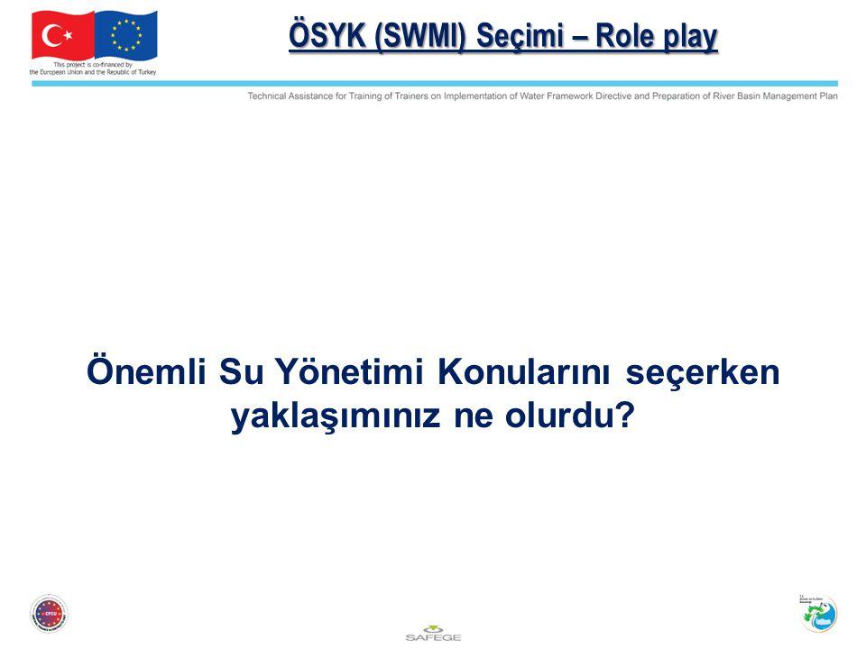 ÖSYK (SWMI) Seçimi – Role play Önemli Su Yönetimi Konularını seçerken yaklaşımınız ne olurdu?