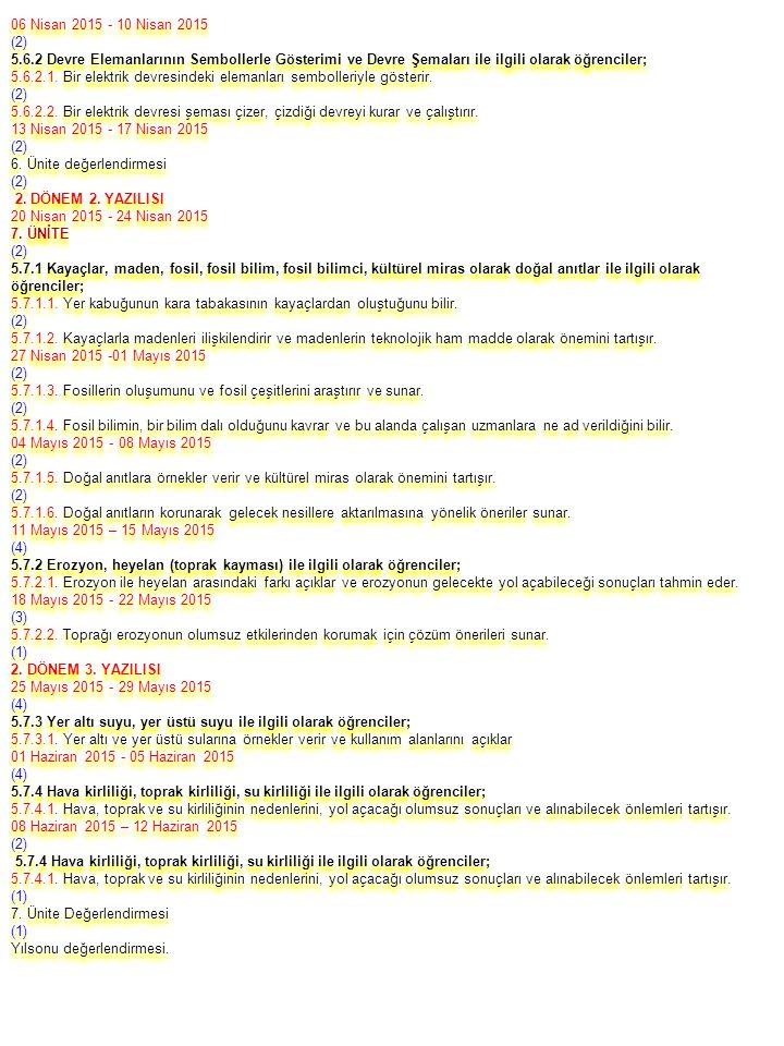 06 Nisan 2015 - 10 Nisan 2015 (2) 5.6.2 Devre Elemanlarının Sembollerle Gösterimi ve Devre Şemaları ile ilgili olarak öğrenciler; 5.6.2.1. Bir elektri