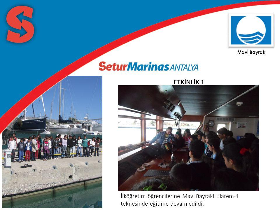 Mavi Bayrak ETKİNLİK 1 İlköğretim öğrencilerine Mavi Bayraklı Harem-1 teknesinde eğitime devam edildi.