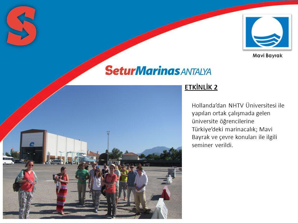 Mavi Bayrak ETKİNLİK 2 Hollanda'dan NHTV Üniversitesi ile yapılan ortak çalışmada gelen üniversite öğrencilerine Türkiye'deki marinacalık; Mavi Bayrak ve çevre konuları ile ilgili seminer verildi.