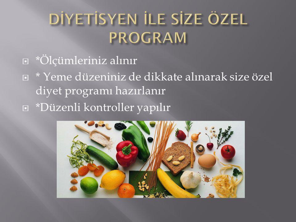  *Ölçümleriniz alınır  * Yeme düzeniniz de dikkate alınarak size özel diyet programı hazırlanır  *Düzenli kontroller yapılır