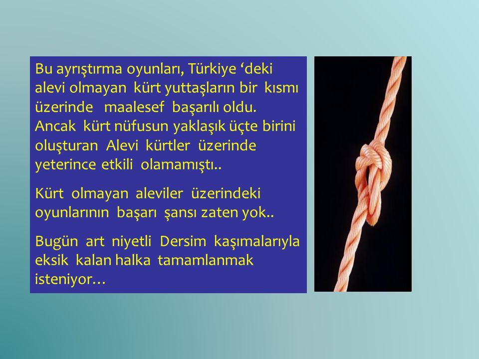 Bu ayrıştırma oyunları, Türkiye 'deki alevi olmayan kürt yuttaşların bir kısmı üzerinde maalesef başarılı oldu. Ancak kürt nüfusun yaklaşık üçte birin