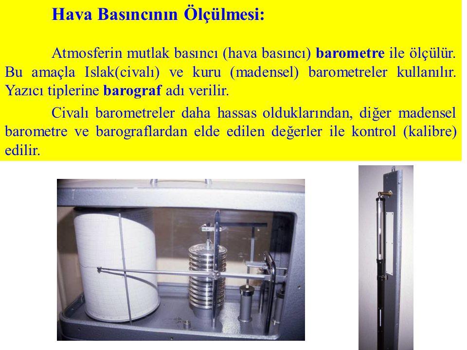 Hava Basıncının Ölçülmesi: Atmosferin mutlak basıncı (hava basıncı) barometre ile ölçülür. Bu amaçla Islak(civalı) ve kuru (madensel) barometreler kul