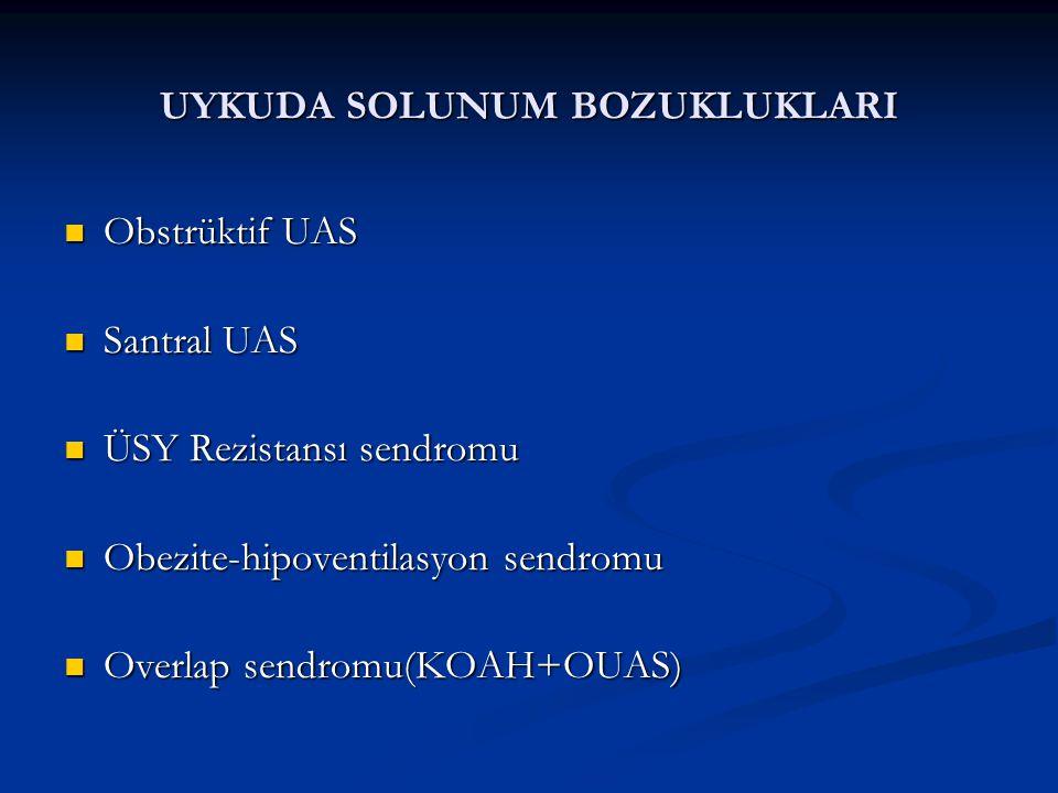 UYKUDA SOLUNUM BOZUKLUKLARI Obstrüktif UAS Obstrüktif UAS Santral UAS Santral UAS ÜSY Rezistansı sendromu ÜSY Rezistansı sendromu Obezite-hipoventilasyon sendromu Obezite-hipoventilasyon sendromu Overlap sendromu(KOAH+OUAS) Overlap sendromu(KOAH+OUAS)