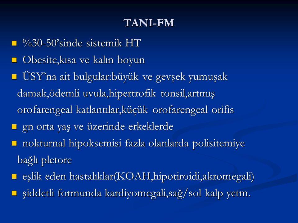 TANI-FM %30-50'sinde sistemik HT %30-50'sinde sistemik HT Obesite,kısa ve kalın boyun Obesite,kısa ve kalın boyun ÜSY'na ait bulgular:büyük ve gevşek yumuşak ÜSY'na ait bulgular:büyük ve gevşek yumuşak damak,ödemli uvula,hipertrofik tonsil,artmış damak,ödemli uvula,hipertrofik tonsil,artmış orofarengeal katlantılar,küçük orofarengeal orifis orofarengeal katlantılar,küçük orofarengeal orifis gn orta yaş ve üzerinde erkeklerde gn orta yaş ve üzerinde erkeklerde nokturnal hipoksemisi fazla olanlarda polisitemiye nokturnal hipoksemisi fazla olanlarda polisitemiye bağlı pletore bağlı pletore eşlik eden hastalıklar(KOAH,hipotiroidi,akromegali) eşlik eden hastalıklar(KOAH,hipotiroidi,akromegali) şiddetli formunda kardiyomegali,sağ/sol kalp yetm.