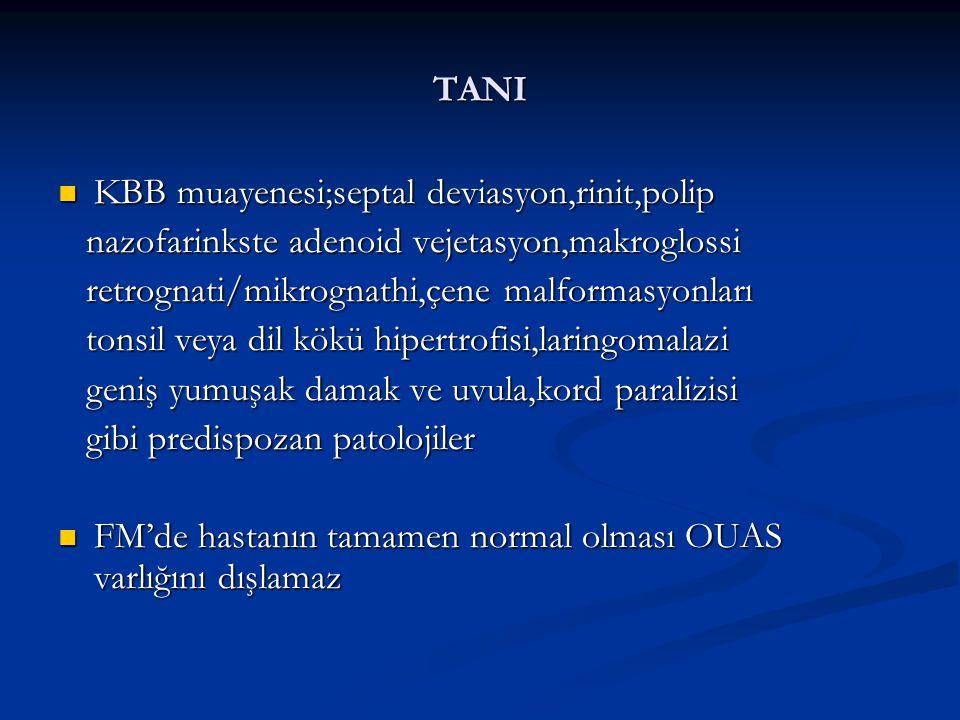 TANI KBB muayenesi;septal deviasyon,rinit,polip KBB muayenesi;septal deviasyon,rinit,polip nazofarinkste adenoid vejetasyon,makroglossi nazofarinkste adenoid vejetasyon,makroglossi retrognati/mikrognathi,çene malformasyonları retrognati/mikrognathi,çene malformasyonları tonsil veya dil kökü hipertrofisi,laringomalazi tonsil veya dil kökü hipertrofisi,laringomalazi geniş yumuşak damak ve uvula,kord paralizisi geniş yumuşak damak ve uvula,kord paralizisi gibi predispozan patolojiler gibi predispozan patolojiler FM'de hastanın tamamen normal olması OUAS varlığını dışlamaz FM'de hastanın tamamen normal olması OUAS varlığını dışlamaz
