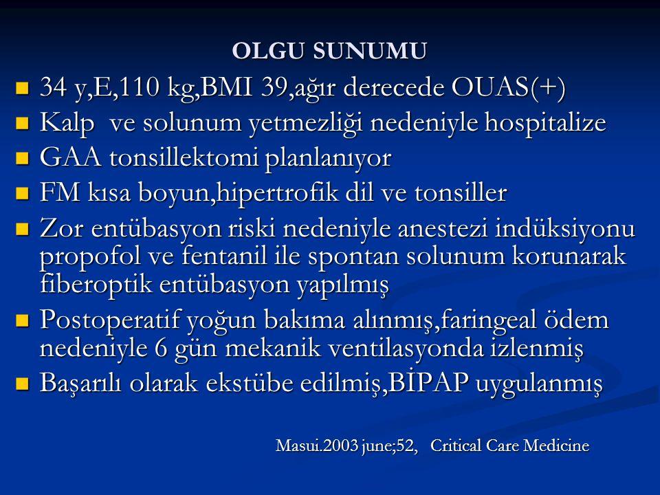 OLGU SUNUMU 34 y,E,110 kg,BMI 39,ağır derecede OUAS(+) 34 y,E,110 kg,BMI 39,ağır derecede OUAS(+) Kalp ve solunum yetmezliği nedeniyle hospitalize Kalp ve solunum yetmezliği nedeniyle hospitalize GAA tonsillektomi planlanıyor GAA tonsillektomi planlanıyor FM kısa boyun,hipertrofik dil ve tonsiller FM kısa boyun,hipertrofik dil ve tonsiller Zor entübasyon riski nedeniyle anestezi indüksiyonu propofol ve fentanil ile spontan solunum korunarak fiberoptik entübasyon yapılmış Zor entübasyon riski nedeniyle anestezi indüksiyonu propofol ve fentanil ile spontan solunum korunarak fiberoptik entübasyon yapılmış Postoperatif yoğun bakıma alınmış,faringeal ödem nedeniyle 6 gün mekanik ventilasyonda izlenmiş Postoperatif yoğun bakıma alınmış,faringeal ödem nedeniyle 6 gün mekanik ventilasyonda izlenmiş Başarılı olarak ekstübe edilmiş,BİPAP uygulanmış Başarılı olarak ekstübe edilmiş,BİPAP uygulanmış Masui.2003 june;52, Critical Care Medicine Masui.2003 june;52, Critical Care Medicine