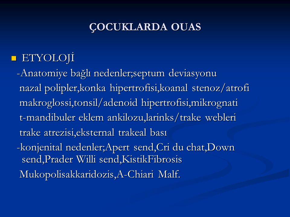 ÇOCUKLARDA OUAS ETYOLOJİ ETYOLOJİ -Anatomiye bağlı nedenler;septum deviasyonu -Anatomiye bağlı nedenler;septum deviasyonu nazal polipler,konka hipertrofisi,koanal stenoz/atrofi nazal polipler,konka hipertrofisi,koanal stenoz/atrofi makroglossi,tonsil/adenoid hipertrofisi,mikrognati makroglossi,tonsil/adenoid hipertrofisi,mikrognati t-mandibuler eklem ankilozu,larinks/trake webleri t-mandibuler eklem ankilozu,larinks/trake webleri trake atrezisi,eksternal trakeal bası trake atrezisi,eksternal trakeal bası -konjenital nedenler;Apert send,Cri du chat,Down send,Prader Willi send,KistikFibrosis -konjenital nedenler;Apert send,Cri du chat,Down send,Prader Willi send,KistikFibrosis Mukopolisakkaridozis,A-Chiari Malf.