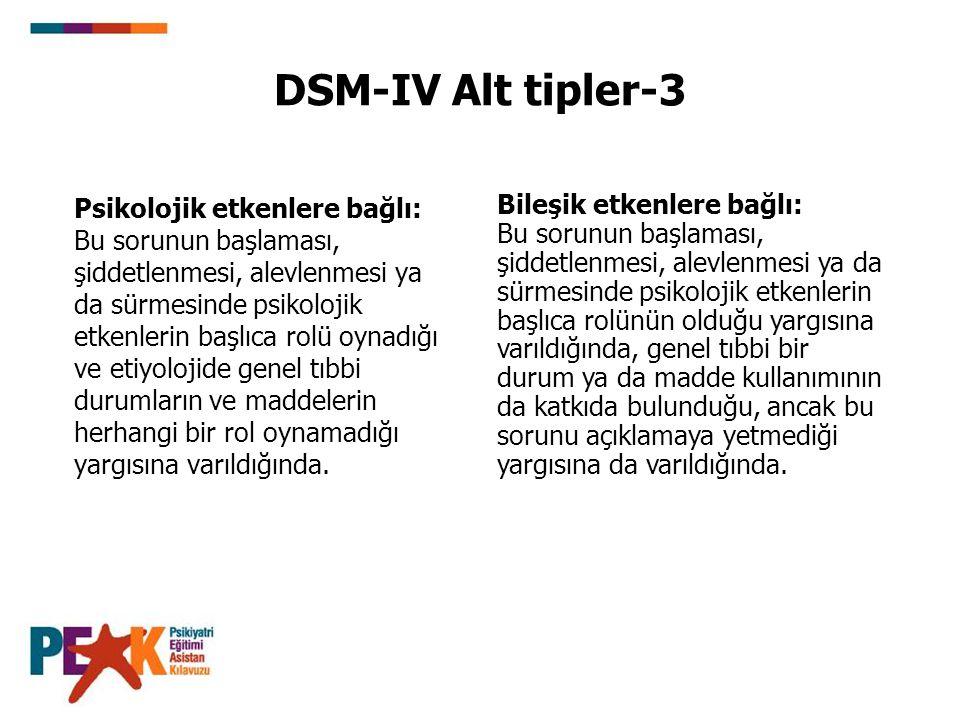 DSM-IV Alt tipler-3 Psikolojik etkenlere bağlı: Bu sorunun başlaması, şiddetlenmesi, alevlenmesi ya da sürmesinde psikolojik etkenlerin başlıca rolü oynadığı ve etiyolojide genel tıbbi durumların ve maddelerin herhangi bir rol oynamadığı yargısına varıldığında.