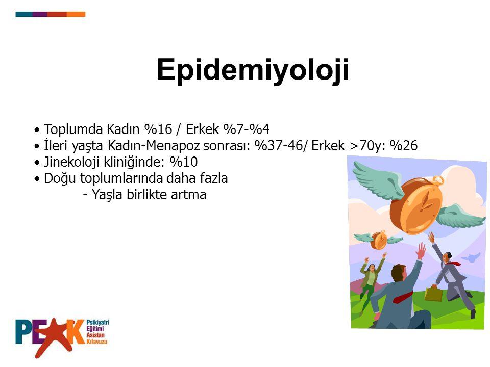 Epidemiyoloji Toplumda Kadın %16 / Erkek %7-%4 İleri yaşta Kadın-Menapoz sonrası: %37-46/ Erkek >70y: %26 Jinekoloji kliniğinde: %10 Doğu toplumlarında daha fazla - Yaşla birlikte artma