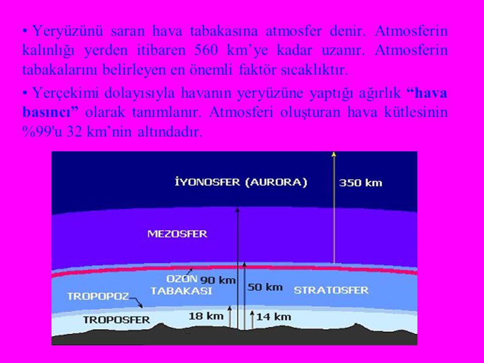 Yeryüzünü saran hava tabakasına atmosfer denir. Atmosferin kalınlığı yerden itibaren 560 km'ye kadar uzanır. Atmosferin tabakalarını belirleyen en öne