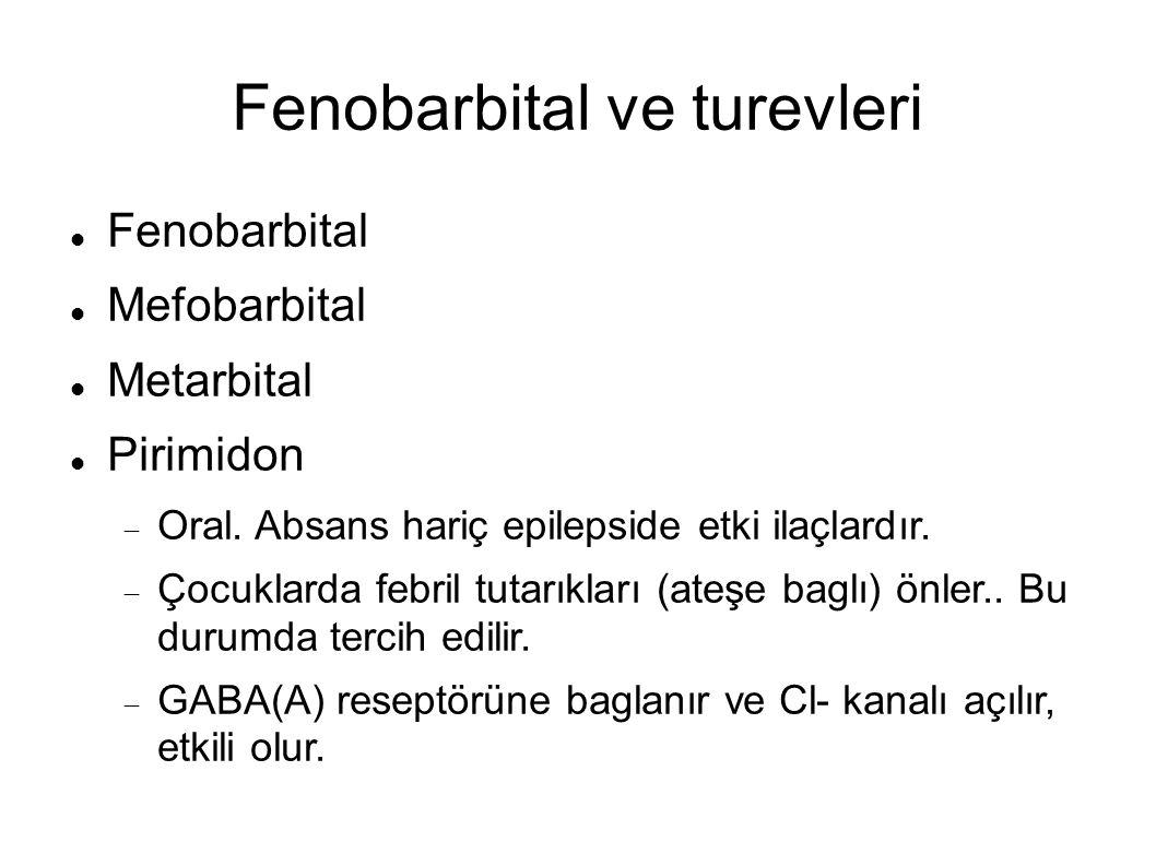 Fenobarbital ve turevleri Fenobarbital Mefobarbital Metarbital Pirimidon  Oral.