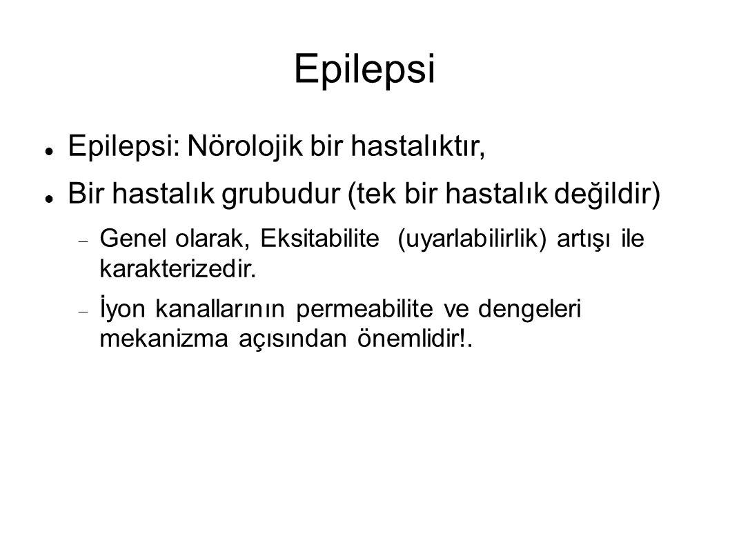 Epilepsi Epilepsi: Nörolojik bir hastalıktır, Bir hastalık grubudur (tek bir hastalık değildir)  Genel olarak, Eksitabilite (uyarlabilirlik) artışı ile karakterizedir.