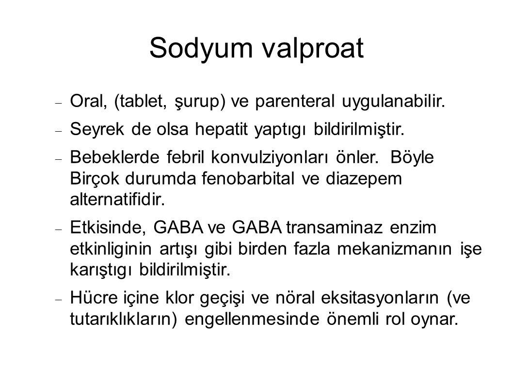 Sodyum valproat  Oral, (tablet, şurup) ve parenteral uygulanabilir.