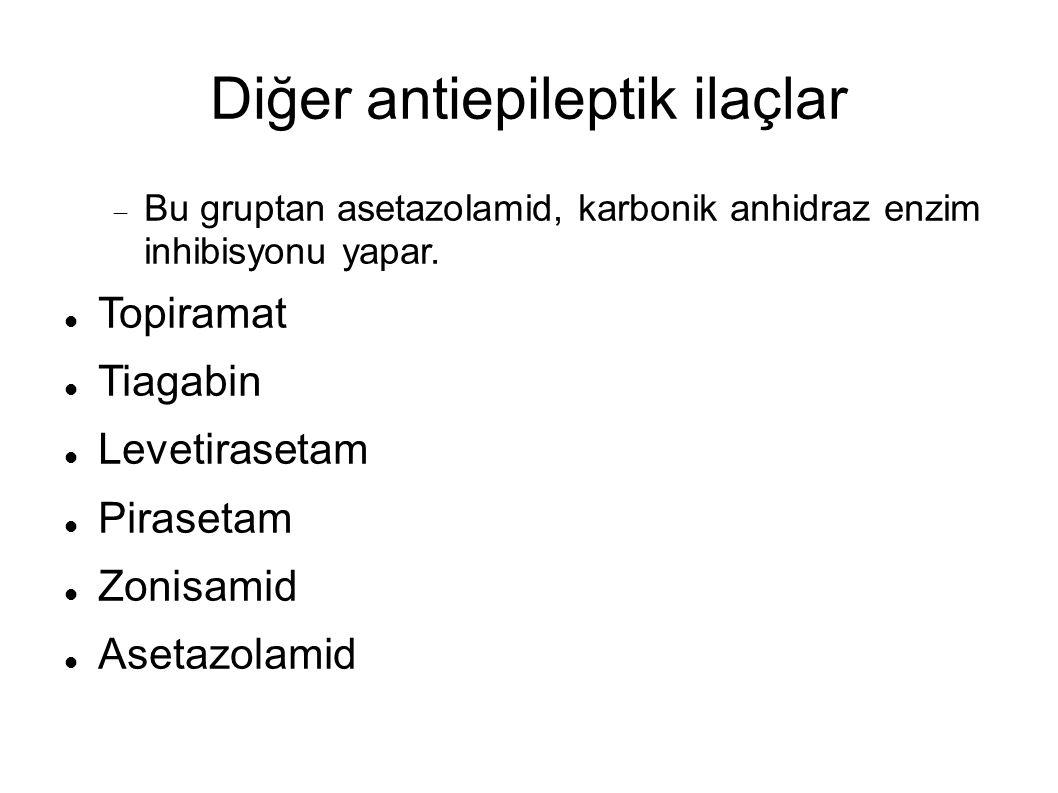 Diğer antiepileptik ilaçlar  Bu gruptan asetazolamid, karbonik anhidraz enzim inhibisyonu yapar.
