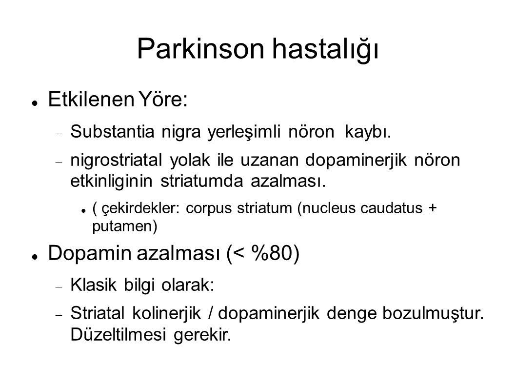 Parkinson hastalığı Etkilenen Yöre:  Substantia nigra yerleşimli nöron kaybı.