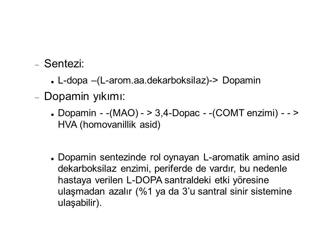  Sentezi: L-dopa –(L-arom.aa.dekarboksilaz)-> Dopamin  Dopamin yıkımı: Dopamin - -(MAO) - > 3,4-Dopac - -(COMT enzimi) - - > HVA (homovanillik asid) Dopamin sentezinde rol oynayan L-aromatik amino asid dekarboksilaz enzimi, periferde de vardır, bu nedenle hastaya verilen L-DOPA santraldeki etki yöresine ulaşmadan azalır (%1 ya da 3'u santral sinir sistemine ulaşabilir).