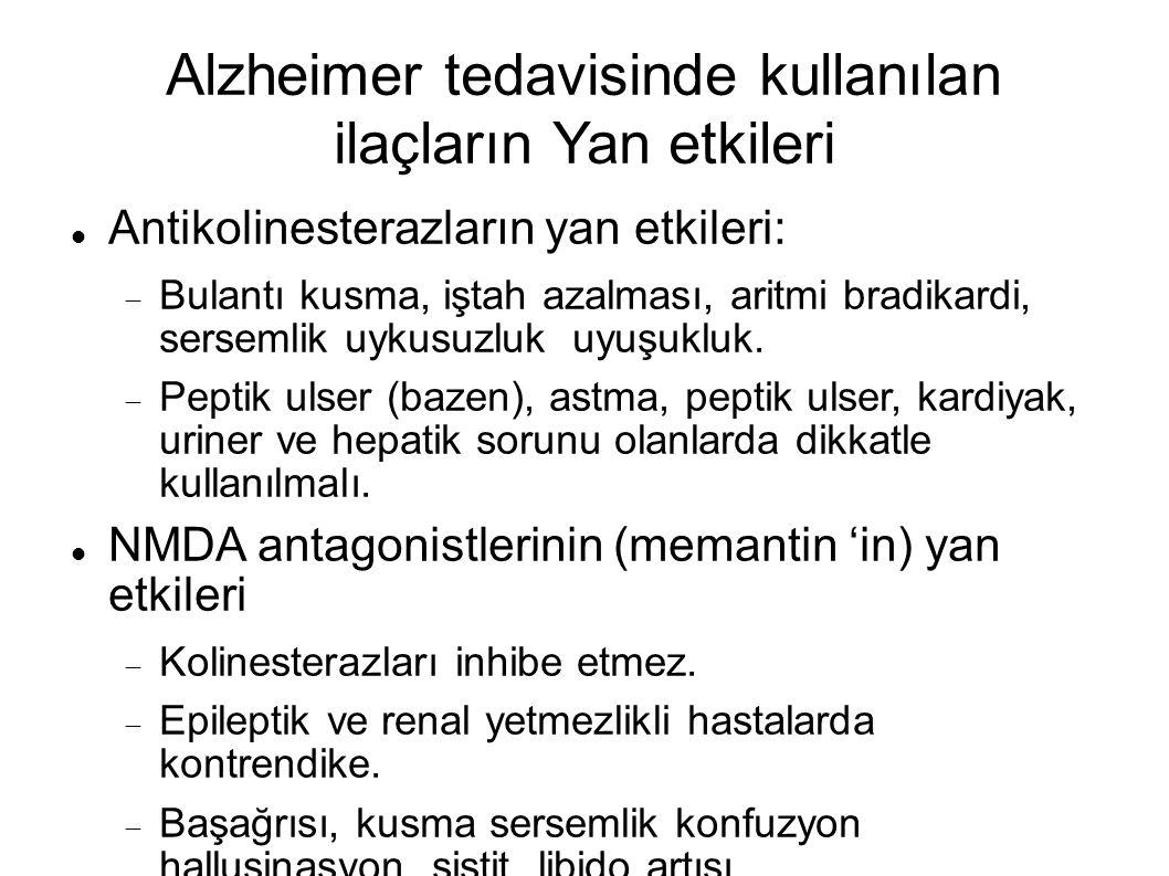 Alzheimer tedavisinde kullanılan ilaçların Yan etkileri Antikolinesterazların yan etkileri:  Bulantı kusma, iştah azalması, aritmi bradikardi, sersemlik uykusuzluk uyuşukluk.