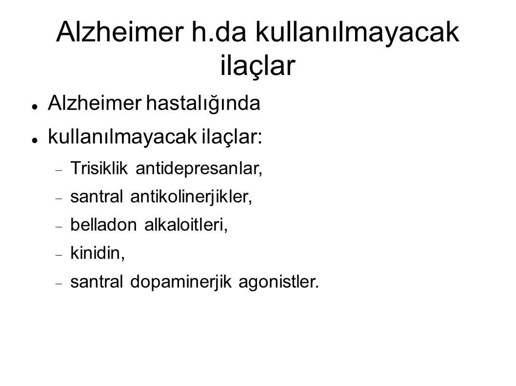 Alzheimer h.da kullanılmayacak ilaçlar Alzheimer hastalığında kullanılmayacak ilaçlar:  Trisiklik antidepresanlar,  santral antikolinerjikler,  belladon alkaloitleri,  kinidin,  santral dopaminerjik agonistler.