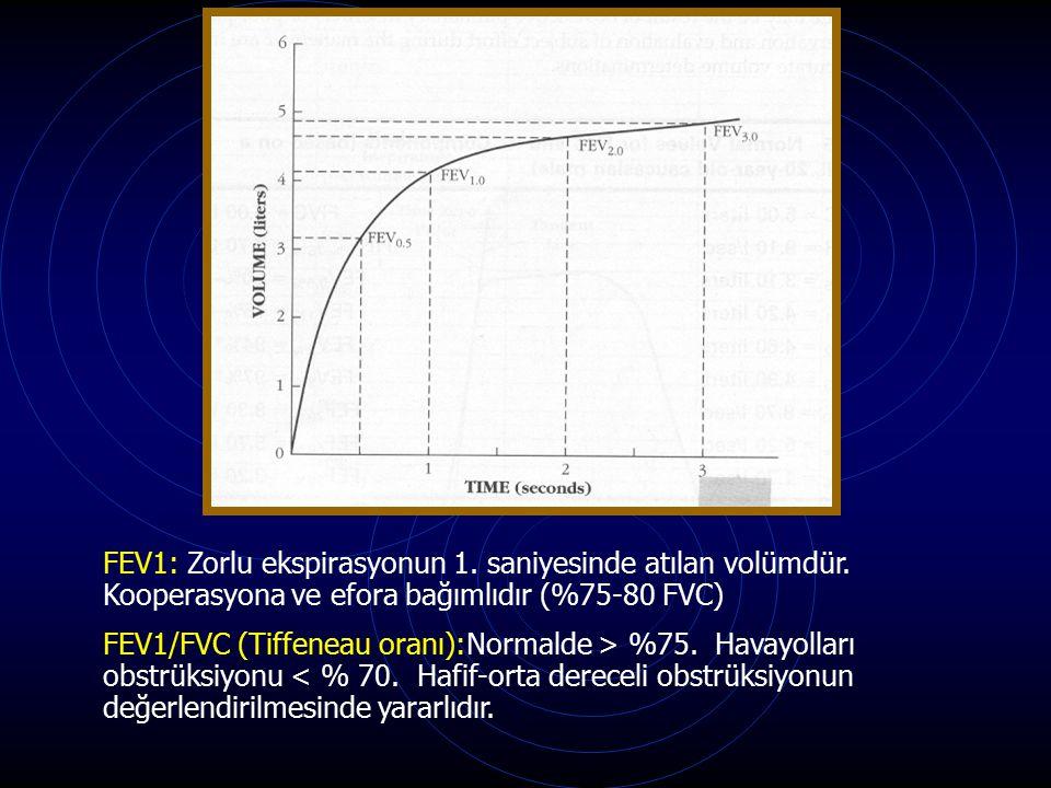 FEV1: Zorlu ekspirasyonun 1. saniyesinde atılan volümdür. Kooperasyona ve efora bağımlıdır (%75-80 FVC) FEV1/FVC (Tiffeneau oranı):Normalde > %75. Hav