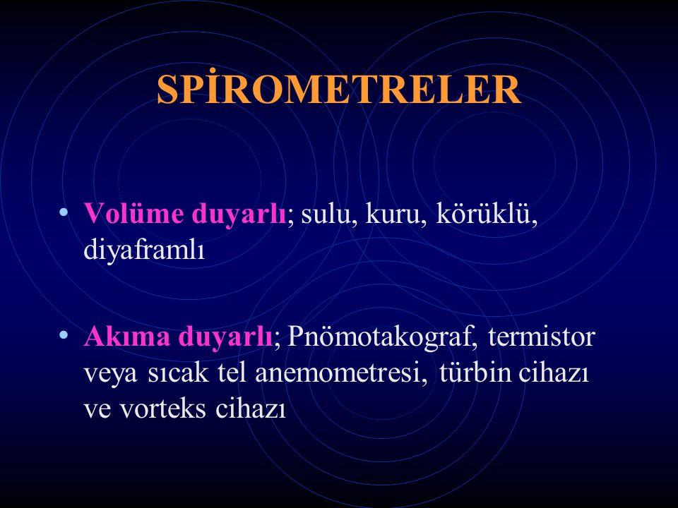 SPİROMETRELER Volüme duyarlı; sulu, kuru, körüklü, diyaframlı Akıma duyarlı; Pnömotakograf, termistor veya sıcak tel anemometresi, türbin cihazı ve vorteks cihazı