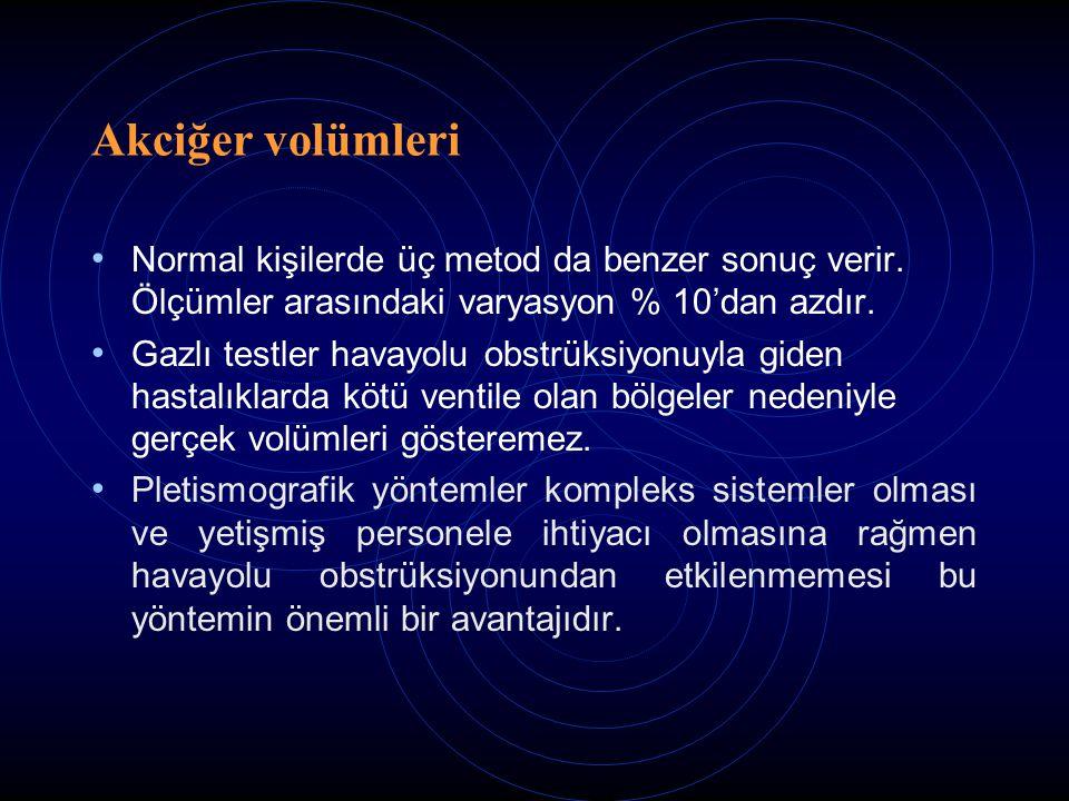 Akciğer volümleri Normal kişilerde üç metod da benzer sonuç verir.