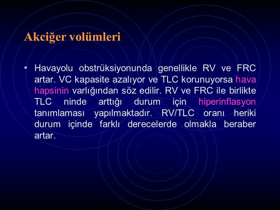 Akciğer volümleri Havayolu obstrüksiyonunda genellikle RV ve FRC artar. VC kapasite azalıyor ve TLC korunuyorsa hava hapsinin varlığından söz edilir.