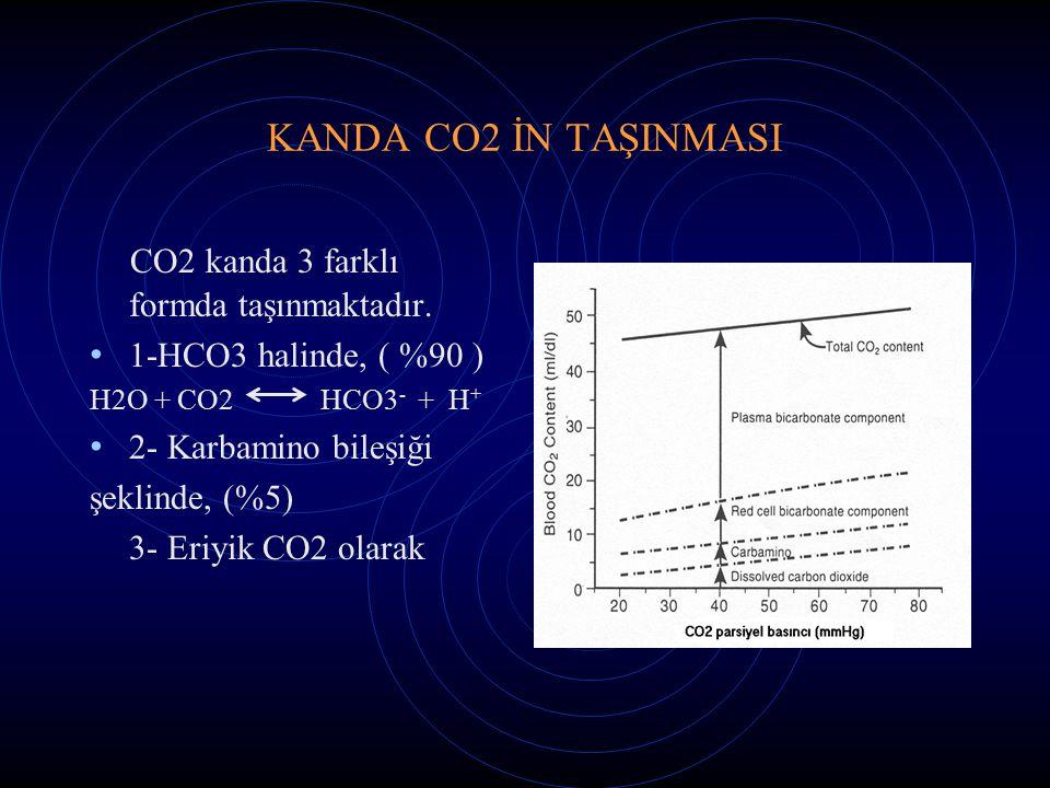 KANDA CO2 İN TAŞINMASI CO2 kanda 3 farklı formda taşınmaktadır. 1-HCO3 halinde, ( %90 ) H2O + CO2 HCO3 - + H + 2- Karbamino bileşiği şeklinde, (%5) 3-
