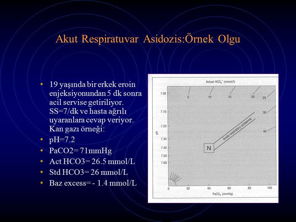 Akut Respiratuvar Asidozis:Örnek Olgu 19 yaşında bir erkek eroin enjeksiyonundan 5 dk sonra acil servise getiriliyor. SS=7/dk ve hasta ağrılı uyaranla