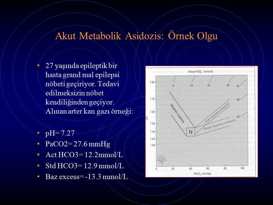 Akut Metabolik Asidozis: Örnek Olgu 27 yaşında epileptik bir hasta grand mal epilepsi nöbeti geçiriyor. Tedavi edilmeksizin nöbet kendiliğinden geçiyo