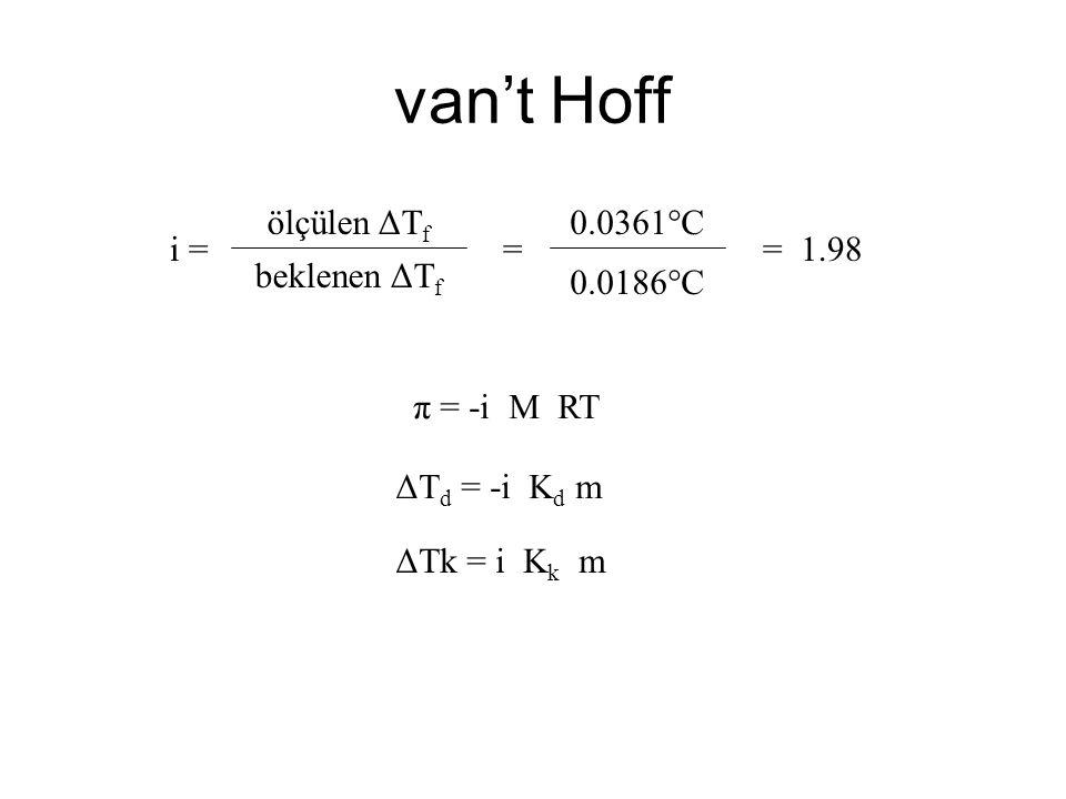 van't Hoff ΔT d = -i K d m i = == 1.98 ölçülen ΔT f ΔTk = i K k m beklenen ΔT f 0.0361°C 0.0186°C π = -i M RT