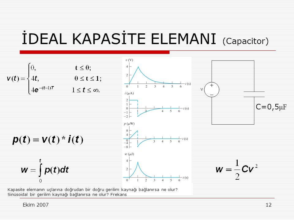 Ekim 200712 İDEAL KAPASİTE ELEMANI (Capacitor) C=0,5 μF Kapasite elemanın uçlarına doğrudan bir doğru gerilim kaynağı bağlanırsa ne olur? Sinüsoidal b