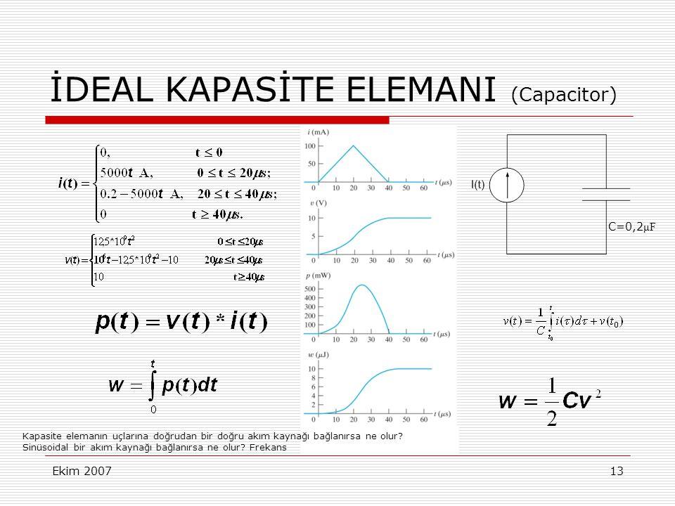 Ekim 200713 İDEAL KAPASİTE ELEMANI (Capacitor) C=0,2 μF Kapasite elemanın uçlarına doğrudan bir doğru akım kaynağı bağlanırsa ne olur? Sinüsoidal bir