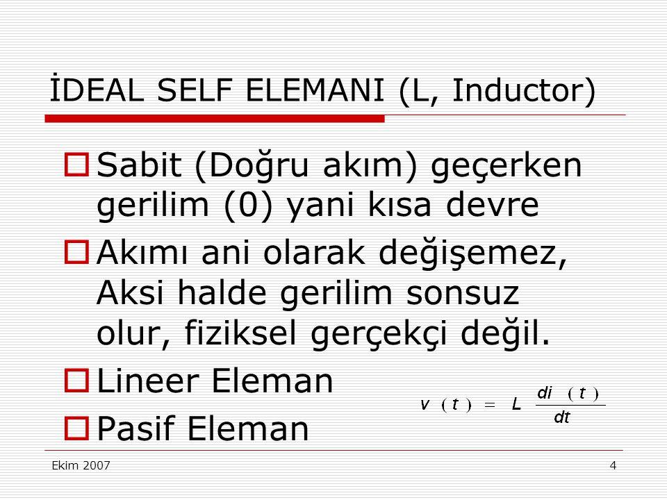 Ekim 20075 İDEAL SELF ELEMANI (L, Inductor)  Uçlarına akım kaynağı bağlandığında Geriliminde sıçrama olur, Akımın eğimi pozitif iken gerilim de pozitif ve güç (+) depolanır, Akımın eğimi değiştiğinde gerilim negatif olur, güç (-) verir, E nerji pozitif, Pasif eleman.