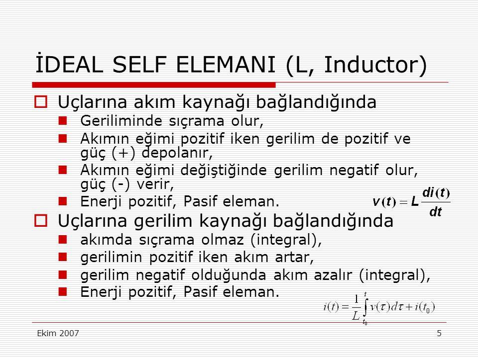 Ekim 20075 İDEAL SELF ELEMANI (L, Inductor)  Uçlarına akım kaynağı bağlandığında Geriliminde sıçrama olur, Akımın eğimi pozitif iken gerilim de pozit