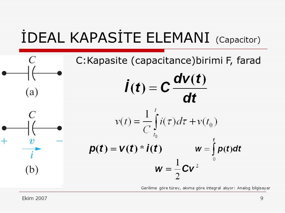 Ekim 20079 İDEAL KAPASİTE ELEMANI (Capacitor) C:Kapasite (capacitance)birimi F, farad Gerilime göre türev, akıma göre integral alıyor: Analog bilgisay