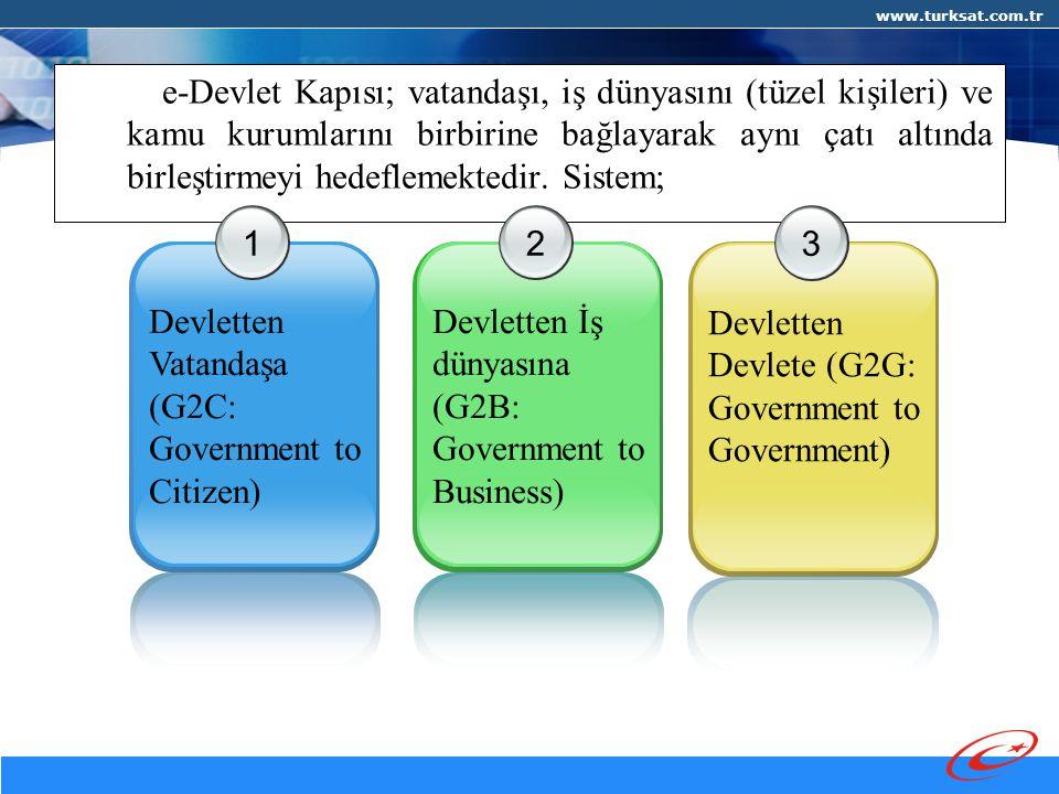 www.turksat.com.tr e-Devlet Kapısı; vatandaşı, iş dünyasını (tüzel kişileri) ve kamu kurumlarını birbirine bağlayarak aynı çatı altında birleştirmeyi hedeflemektedir.