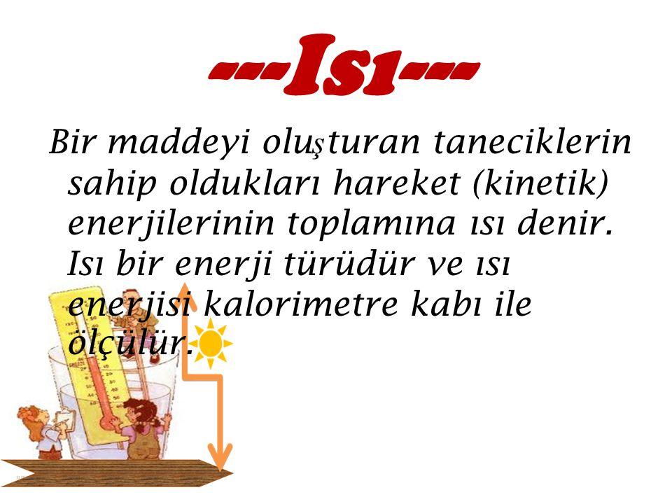 a) Isı Enerjisi Birimleri : Kalori (cal) Kilo Kalori (kcal) Joule (J) Kilo Joule (kJ) b) Isı Enerjisi Birimlerinin Dönüşümü : 1 kcal = 1000 cal 1 cal = kcal 1 kJ = 1000 J 1 J = kJ 1 cal = 4,18 J 1 cal 4 J 1 J = 0,24 cal 1 J 0,25 cal