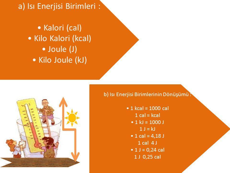 a) Isı Enerjisi Birimleri : Kalori (cal) Kilo Kalori (kcal) Joule (J) Kilo Joule (kJ) b) Isı Enerjisi Birimlerinin Dönüşümü : 1 kcal = 1000 cal 1 cal