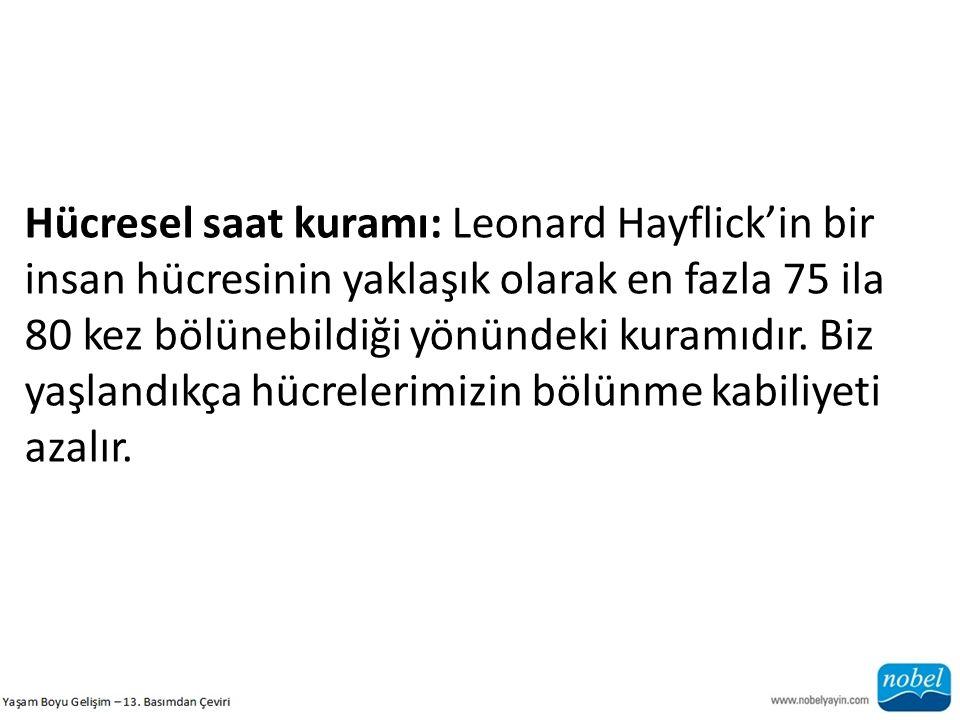 Hücresel saat kuramı: Leonard Hayflick'in bir insan hücresinin yaklaşık olarak en fazla 75 ila 80 kez bölünebildiği yönündeki kuramıdır. Biz yaşlandık