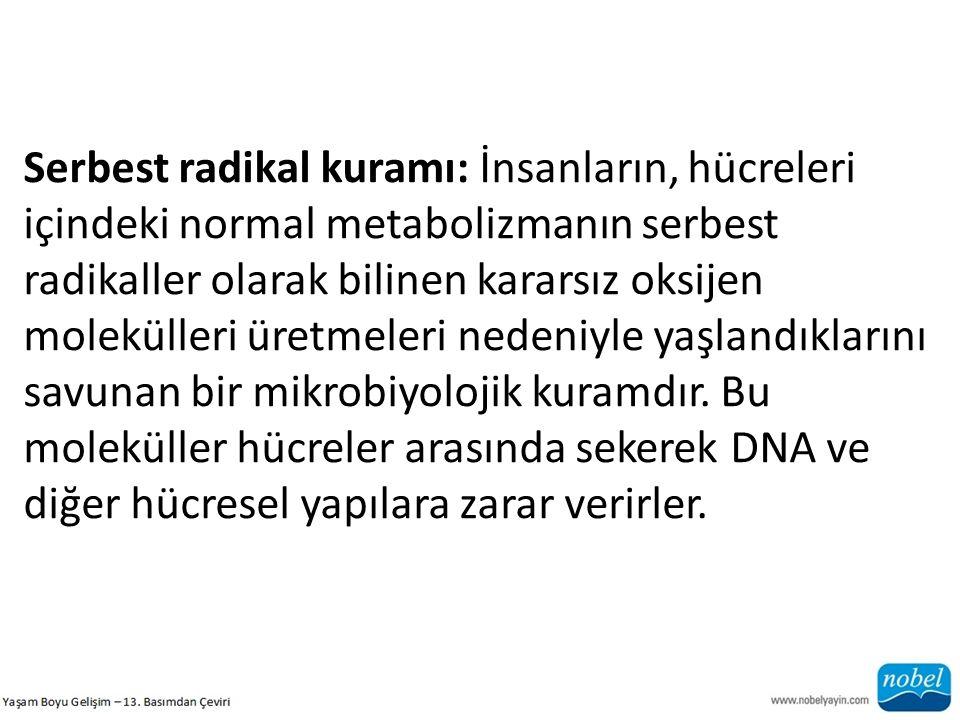 Serbest radikal kuramı: İnsanların, hücreleri içindeki normal metabolizmanın serbest radikaller olarak bilinen kararsız oksijen molekülleri üretmeleri