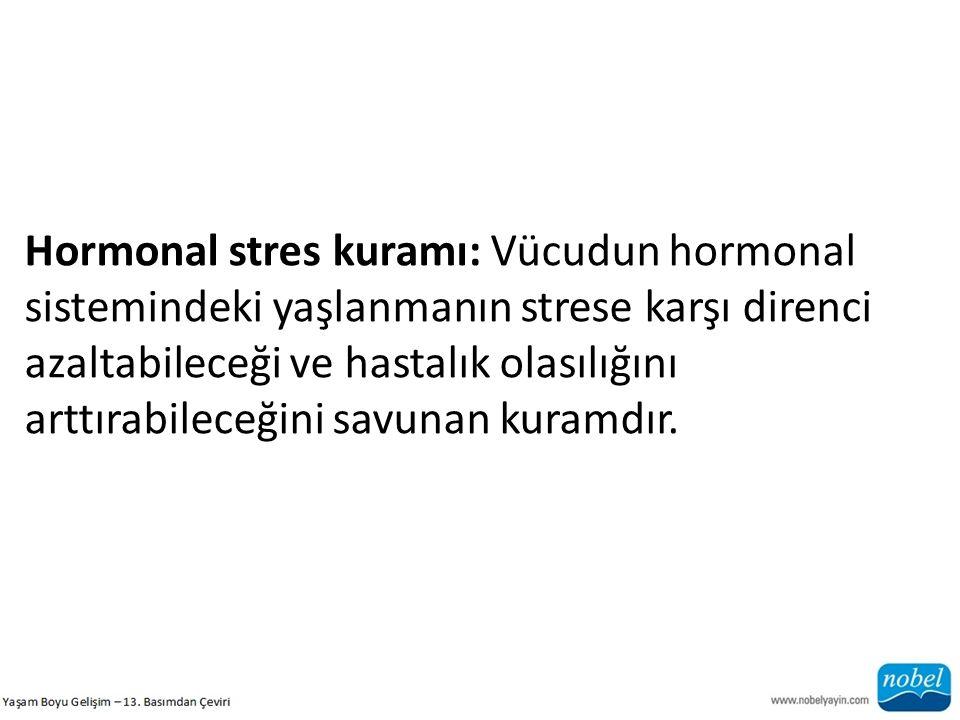 Hormonal stres kuramı: Vücudun hormonal sistemindeki yaşlanmanın strese karşı direnci azaltabileceği ve hastalık olasılığını arttırabileceğini savunan
