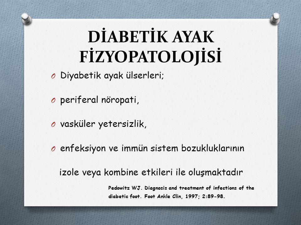 DİABETİK AYAK FİZYOPATOLOJİSİ O Diyabetik ayak ülserleri; O periferal nöropati, O vasküler yetersizlik, O enfeksiyon ve immün sistem bozukluklarının i