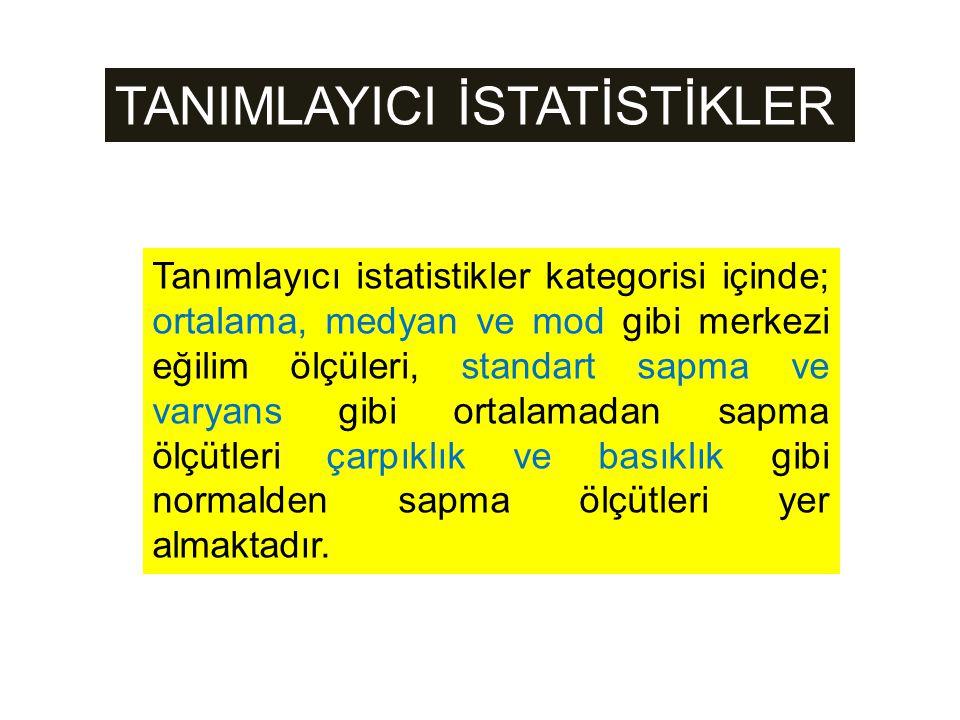 TANIMLAYICI İSTATİSTİKLER Tanımlayıcı istatistikler kategorisi içinde; ortalama, medyan ve mod gibi merkezi eğilim ölçüleri, standart sapma ve varyans