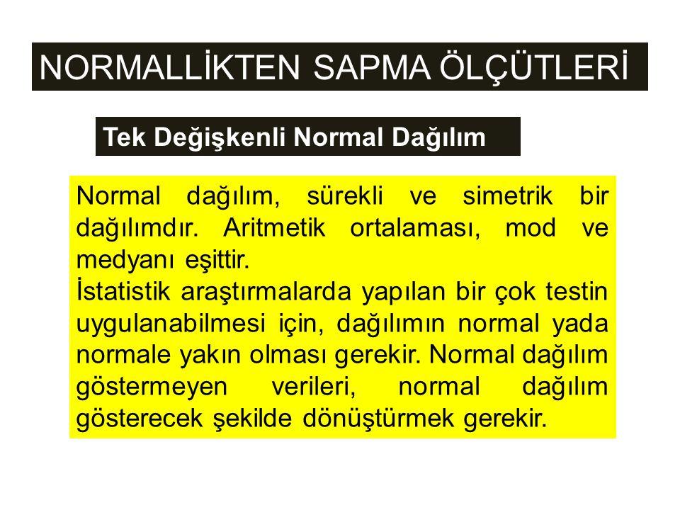 NORMALLİKTEN SAPMA ÖLÇÜTLERİ Normal dağılım, sürekli ve simetrik bir dağılımdır. Aritmetik ortalaması, mod ve medyanı eşittir. İstatistik araştırmalar