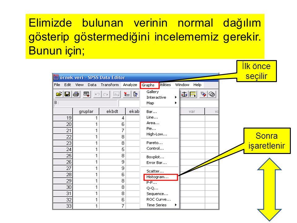 Elimizde bulunan verinin normal dağılım gösterip göstermediğini incelememiz gerekir. Bunun için; İlk önce seçilir Sonra işaretlenir